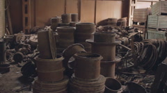 Pan of the old metal warehouse2 Stock Footage