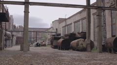 The courtyard of the old factory Stock Footage