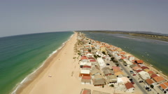 Aerial footage beach of Faro, Algarve, Portugal Stock Footage