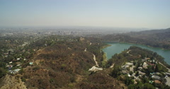 Aerial view of Lake Hollywood and Downtown Los Angeles  - California, USA Stock Footage