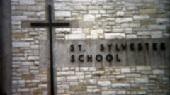1955: St. Sylvester School enterance Catholic private education in Chicago, IL. Stock Footage