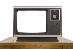 Old Television and with Cut Out Screen Isolated on White - stock photo