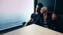 Motion-Photo (Cinemagraph) of Couple Sleeping on a Ferry Boat Stock Footage