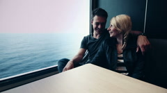 Motion-Photo (Cinemagraph) of Young Couple on a Ferry Boat Stock Footage