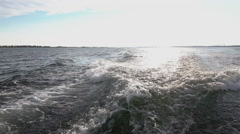 Boat waves with horizon in background slow motion Stock Footage