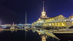 Marine station in Sochi timelapse hyperlapse at night Stock Footage