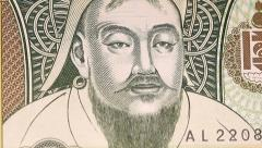 Mongolian Currency With Genghis Khan Stock Footage