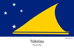 National flag of Tokelau with correct proportions, element, colors - stock illustration
