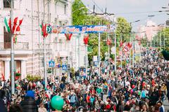 People participating in the parade dedicated to the Victory Day - stock photo