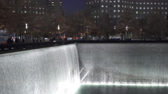 National September 11 Memorial Fountains in New York City at night 4k Stock Footage