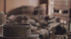 Old metal warehouse rack focus Stock Footage