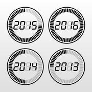 Digital years time icon set - stock illustration