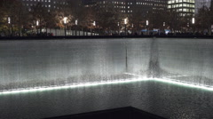 Water fall at September 11th Memorial in New York City 4k Stock Footage