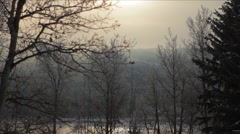 Winter Fog River Trees Hill Clouds Forest Mist Sunlight Time Lapse Stock Footage