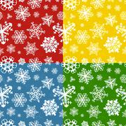 Set of four colour modern winter seamless patterns with snowflakes - stock illustration