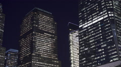 Buildings exterior establishing night shot of New York City 4k Stock Footage