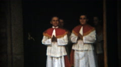 1957: Boy's 1st communion Catholic religious parading celemony outdoor. - stock footage