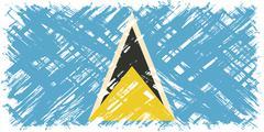 Saint Lucia grunge flag. Vector illustration - stock illustration