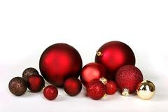 Christmas Decoration Bulbs Scattered and Isolated on White Background - stock photo