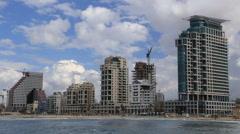 view of the beach of Tel Aviv. Israel - stock footage