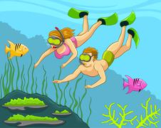 Divers Under The Sea, Snorkeling, Swimming Stock Illustration