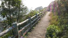 Straight trail along hillside, POV walk forward and look left to rocky shelf Stock Footage