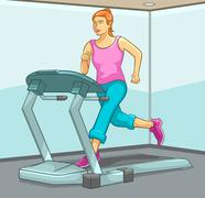 Female Running on Treadmill Stock Illustration