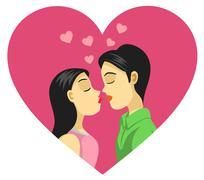 Couple Kissing, Love, Romance Stock Illustration