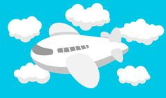 Airplane cartoon, Travel, Clouds - stock illustration