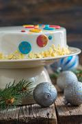 Christmas cake with a spicy mousse. - stock photo