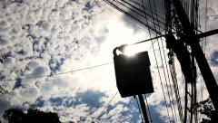 Silhouette of an electrician to repair street lighting Stock Footage