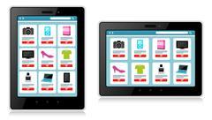 Tablet, Mobile Device, Online Shopping - stock illustration