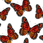 Seamless pattern with bright monarch butterflies Stock Illustration