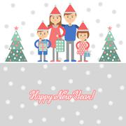 Parents and kids with Christmas shopping. Vector illustration of mom dad and Stock Illustration