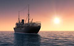 Cargo Ship Against The Evening Sky - stock illustration