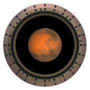 Red Planet In The Spacecraft Porthole Stock Illustration