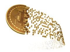 Bitcoin Falling Apart To Digits - stock illustration