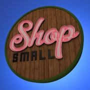 Shop Small Neon Sign - stock illustration