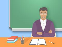 School teacher man at the desk flat education illustration - stock illustration