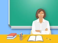 School teacher woman at the desk flat education illustration - stock illustration