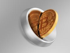 Putting Bitcoin Into Coin Slot And Creating Heart Shape With Reflection Stock Illustration