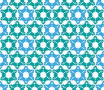 Christmas pattern on green blue paper - stock illustration