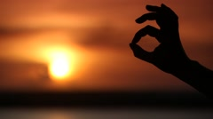 Ok hand sign silhouette Stock Footage