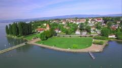 Stock Video Footage of 4K Switzerland aerial - lake Geneva country side