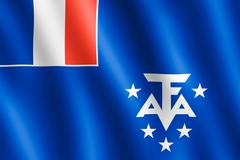 Waving French Southern and Antarctic Lands flag - stock illustration