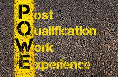 Accounting Business Acronym PQWE Post Qualification Work Experience Stock Photos