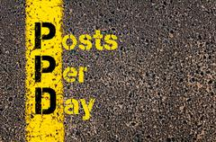 Accounting Business Acronym PPD Posts Per Day - stock photo