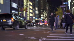 Traffic at 5th Avenue in New York City at night 4k Stock Footage