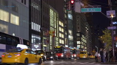 5th Avenue intersection in New York City at night 4k Stock Footage