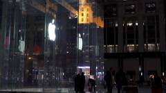 People visiting Apple Store during Holiday in New York City 4k - stock footage